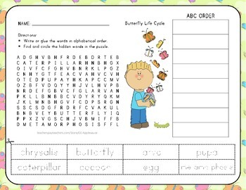 Butterfly Life Cycle - Word Search with ABC Order