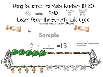 Butterfly Life Cycle and Rekenreks--making numbers 10-20-student booklet