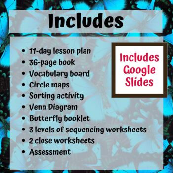 Butterfly Life Cycle Unit for Special Education with complete lesson plans