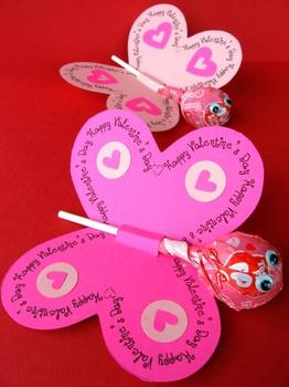Butterfly Loli Pop cut out templates Valentines Day