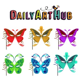 Butterfly Masquerades Clip Art - Great for Art Class Projects!