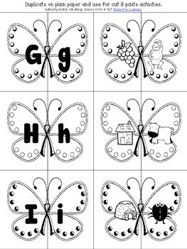 Matching Upper/Lowercase Letters and Beginning Sounds with Butterfly Theme