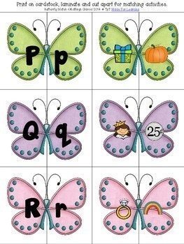 Matching Uppercase Lowercase Letters and Beginning Sounds with Butterfly Theme