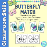 Upper Case Lower Case Matching Letters | Beginning Sounds Butterfly Theme