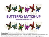Butterfly Match Up - an alliteration game matching initial phonemes