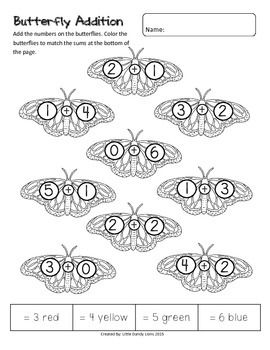 Butterfly Math Activities - Money, Time, Addition