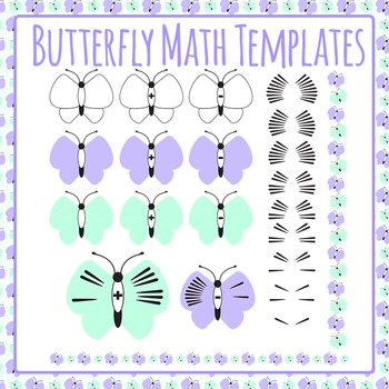Butterfly Math Templates - Addition and Subtraction 0-9 Commercial Use Clip Art