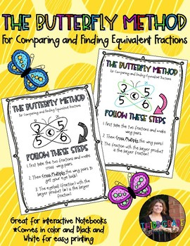 Butterfly Method Poster For Comparing and Finding Equivalent Fractions
