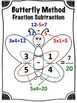 Butterfly Method of Fraction Subtraction Math Center (Common Core)