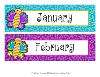 Butterfly Monthly Calendar Headers