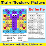 Butterfly Math Mystery Picture - Color by Number Summer or Spring Math Activity