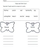 Butterfly Noun And Verb Sort
