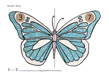 Butterfly Number Bond Match Cards