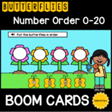 Butterfly Number Order 0-20 BOOM CARDS™ Distance Learning