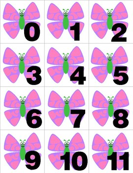 Butterfly - Numbers 0-31 Pocket Chart Cards - CALENDAR