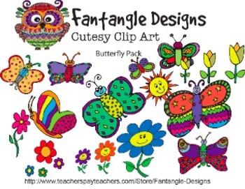 Butterfly Clipart Pack (Fantangle Designs Digital Clipart)