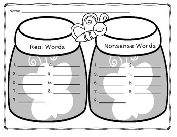Butterfly Real and Nonsense Word Sort