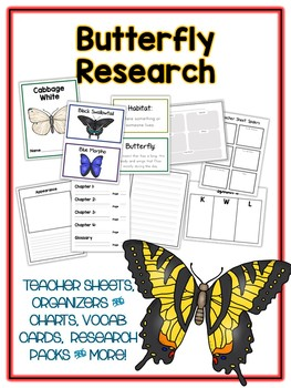 Butterfly Research Project - 10 Types, Vocab Cards, Packet, Book  + More!