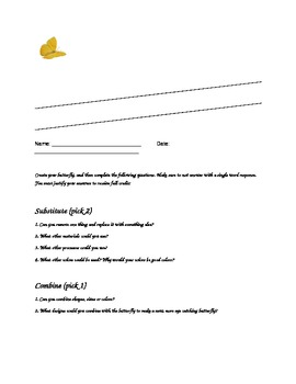 Butterfly SCAMPER Activity