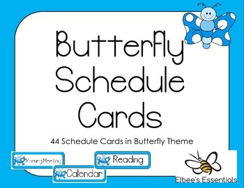 Butterfly Schedule Cards (Blue)