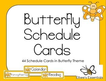 Butterfly Schedule Cards (Orange)