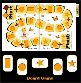 Butterfly Shapes Board Game - Preschool and Kindergarten (File Folder)