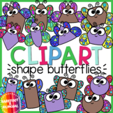 Butterfly Shapes Clipart - Spring Insect Clipart - Moveable!