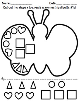 Butterfly Shapes Symmetry, Math Cut and Paste