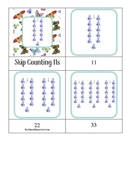 Butterfly Skip Counting 11s 3-part cards