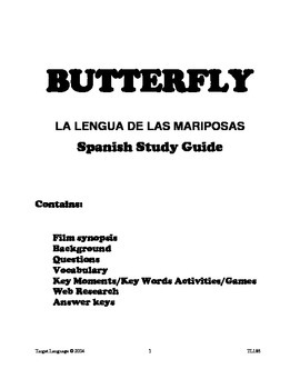 Butterfly-Spanish Study Guide