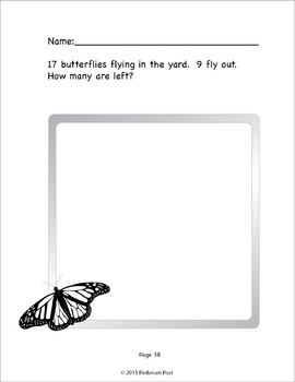 Butterfly Story Problems - Common Core Aligned - Black and White