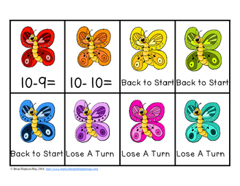 Butterfly Subtraction Facts Race
