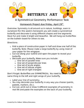 Butterfly Symmetry Performance Task 4.G.3, 4.G.2
