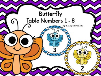Butterfly Table/Group Numbers 1-8