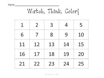 Butterfly Tally Marks - Beginning Watch, Think, Color Mystery Pictures