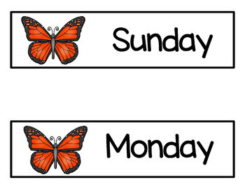 Butterfly Ten Frames & Days of the Week Cards