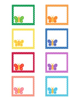 Butterfly Theme Calendar Number Cards