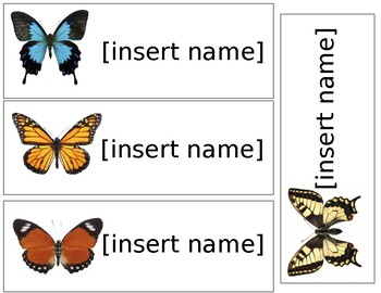 Butterfly Theme Name Tags - Editable
