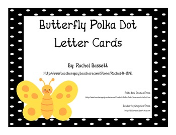 Butterfly Theme Polka Dot Aa-Zz Alphabet Letter Cards