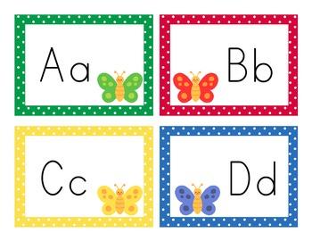 Butterfly Theme Polka Dot Aa-Zz Alphabet Letter Cards