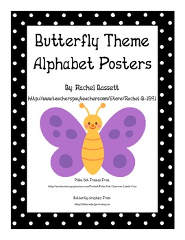 Butterfly Theme Polka Dot Alphabet Wall Posters
