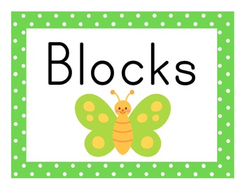 Butterfly Theme Polka Dot Center Signs