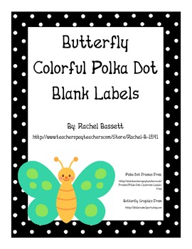 Butterfly Theme Polka Dot Colorful Blank Labels
