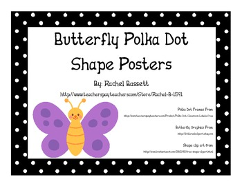 Butterfly Theme Polka Dot Colorful Shape Posters