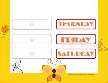 Butterfly Theme Weekday Chart! Butterfly Bulletin Board! Days of the Week!