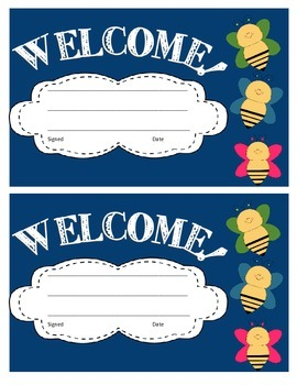 Butterfly Theme Welcome Cards