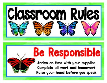 Butterfly Themed Classroom Rules