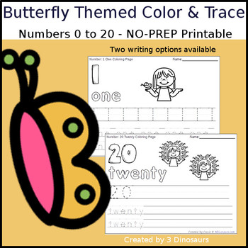 Butterfly Themed Number Color and Trace