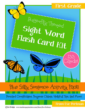 Butterfly-Themed Sight Word Flash Cards and Activity Kit, K-First Grade