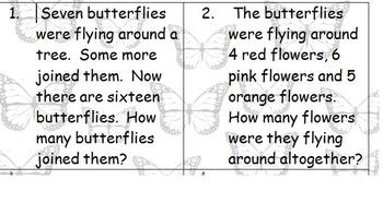 Butterfly Themed Word Problems First Grade